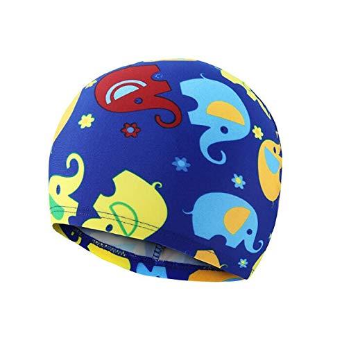 QILEGN Gorro de natación, Tela de poliéster con diseño de Elefante para niños