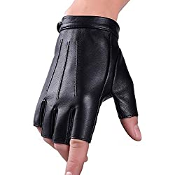Guantes sin dedos del cuero genuino del invierno Vestido de Texting de la pantalla táctil de lana de Fuxury que conduce el guante para los hombres Mujeres Moto (L)