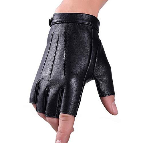 Guanti senza dita in vera pelle invernale Fuxury in lana Touchscreen Texting Dress Guanto guida per uomo donna Moto (M)