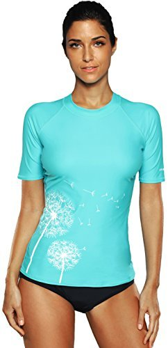 CharmLeaks Damen Rash Guard Kurzarm UV-Schutz (UPF) 50+