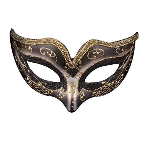 Gehobene Kostüm - AOKOULV Painted Halloween Ball Vollmaske Gehobene Venice Man Maske Party Show Maske Für Mann Laufsteg Kostüm Tanz Maske - Schwarz
