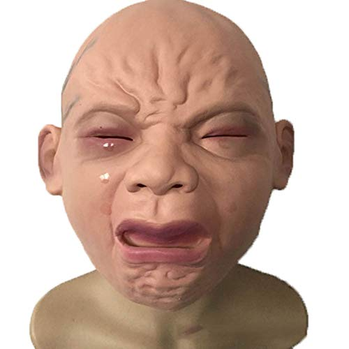 LJSHU Halloween-Maske Realistisch Schreiende Baby-Maske Kopfdeckel Bar Kammer Haunted Haus Horror ()