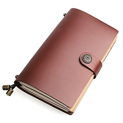 AYOUYA Chic Carnet de Voyage en Cuir PU Agenda Journal Intime 3 Parties Détachable Bloc-Notes Vintage Calepin de Poche Carnet de Croquis Kraft Album Photo Notebook Feuilles Mobiles 216 Pages / A6, Cadeau Spécial