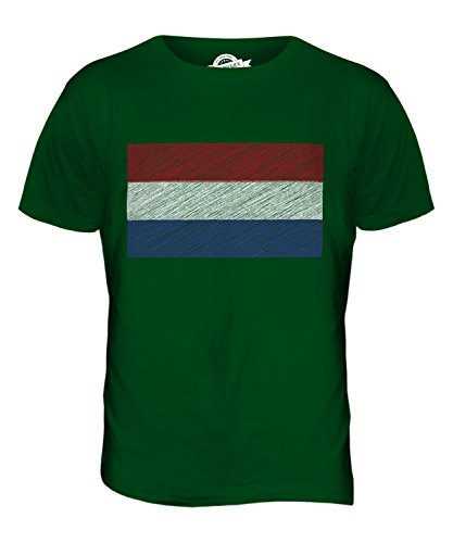 CandyMix Niederlande Kritzelte Flagge Herren T Shirt Flaschengrün