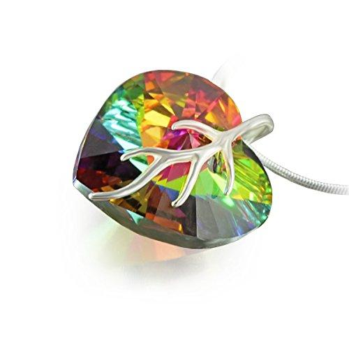 Collana da donna, in argento 925, con ciondolo a cuore swarovski® elements originale (18 mm), in apposito astuccio, colore: multicolore, ideale regalo per moglie o fidanzata