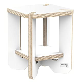 AUPROTEC Flower Stand End Table HEB-22 25 x 25 x 30 cm Wooden Stool Ornamental Birchwood Plywood 2 Tier Stool Plant Stand Side table Footstool Flower Rack Colour: white