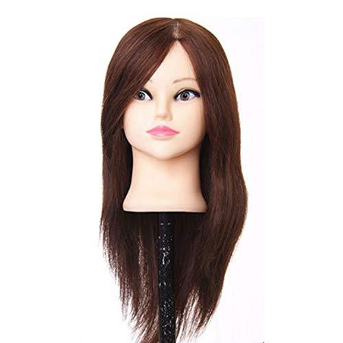 Übungskopf 16-Zoll 75% reales Menschenhaar Cosmetology Frisurschaufensterpuppe Puppe mit Make-up-Funktion für College und Berufspersonal, um das Schneiden von Flechten Einstellung + Klammer zu üben -