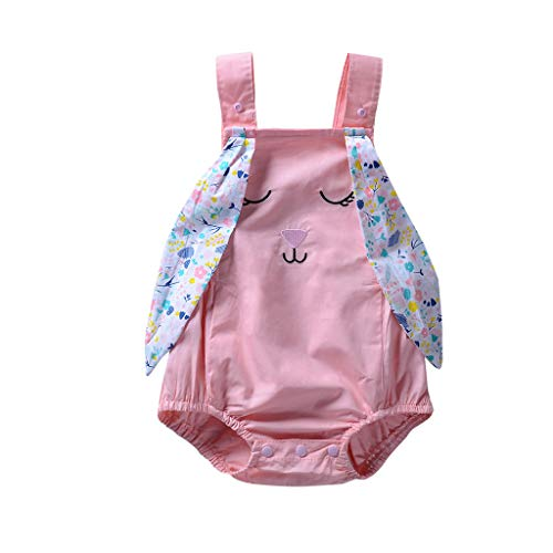 nd Baby Mädchen ärmellose Kaninchen Print Strampler Neugeborenen Overall Kleidung (Rosa,90) ()