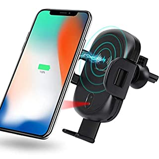 MANLI Auto Car Fast Wireless Charger mount,Charging Stand Compatible with iPhone X/Xs,iPhone Xs Max/XR,8/8 Plus,Samsung S9/S9 Plus,S8 Plus,S7 S6 edge Plus,Note 9,Note 8,Note 5 etc Qi Device