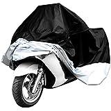 Housse de protection pour Moto Scooter résistante à l'eau/waterproof + Protection anti UV avec sac de rangement inclus - Couleur Argent/Noir - Taille XL