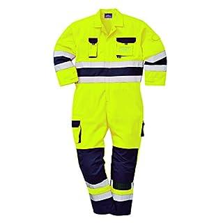Portwest TX55YNRXL Nantes Hi-Vis Coverall, Regular, Size: X-Large, Yellow/Navy