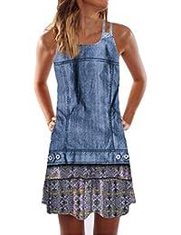 bc893d609 VEMOW Faldas Mujer Mini Vestido Corto con Estampado de Playa sin Mangas de  Verano para Mujer