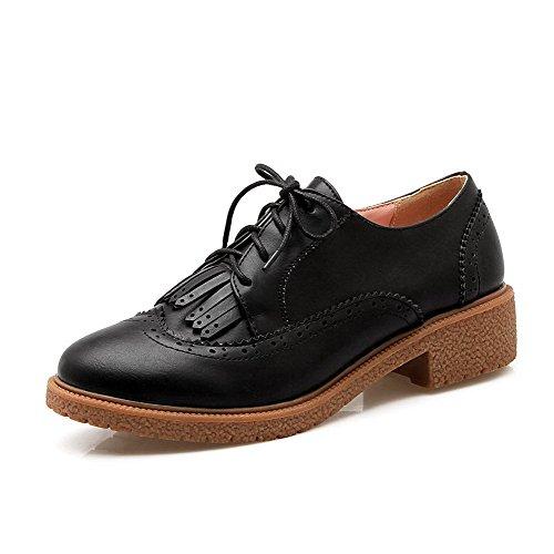 AllhqFashion Femme Matière Souple Lacet Rond Couleur Unie Chaussures Légeres Noir