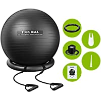 Homitt Exercise Yoga Ball, Gym Ball Anti Bust Stability Ball Set Stability Ring, Resistance Bands, Foot Pump Improve Balance, Core Strength, Stay in Shape, Physical Therapy Home, Office, Gym