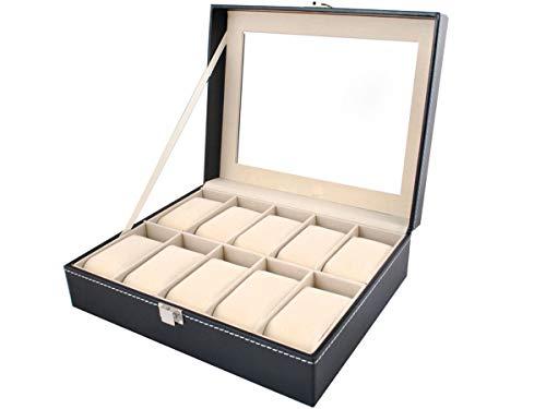 Abnehmbare Perle (Iso Trade Uhrenbox Uhrenkoffer mit abnehmbaren Organizer Leder Schmuck Uhrenschatulle für bis zu 10 Uhren Uhrenkasten Uhrenkissen aus Kunstleder 1369)