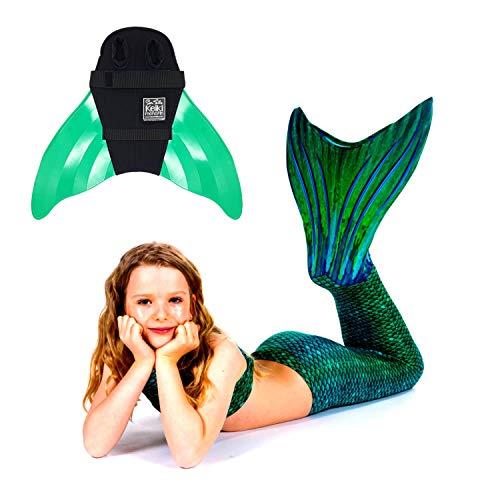 ngfrauen Kostüm Sirene Green Meerjungfrau Schwimmflossen Monofin Kinder Jugendliche Erwachsene JS grün ()