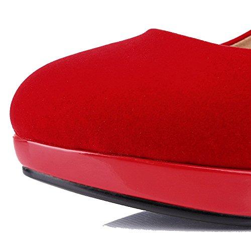 AllhqFashion Damen Stiletto Lackleder Rein Ziehen Auf Rund Zehe Pumps Schuhe Rot