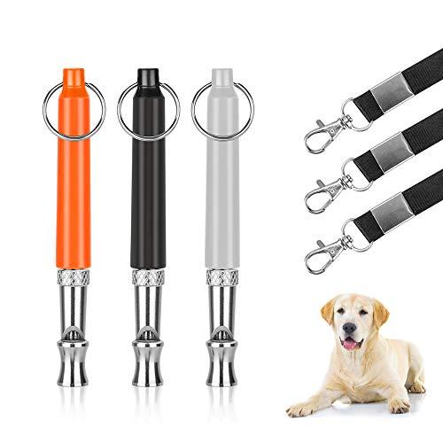 KOMAKE Hundepfeife, 3 Stück, professionelles Hundetraining, gegen Bellen zu stoppen, Ultraschall-Haustierpfeife, Trainingsgerät für Hunde und Rinde, mit gratis hochwertigem Umhängeband -