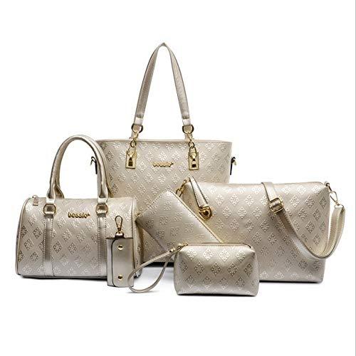 Ldyia Bag Damentasche Diamond Plaid Muttertasche Sechsteilige Damen Umhängetasche Umhängetasche, Gold