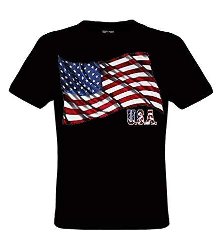 DarkArt-Designs Flag U.S.A. - Amerikanisches Flaggen T-Shirt für Herren und Damen - Flaggenmotiv Shirt USA Party&Freizeit Lifestyle regular fit, Größe S, schwarz