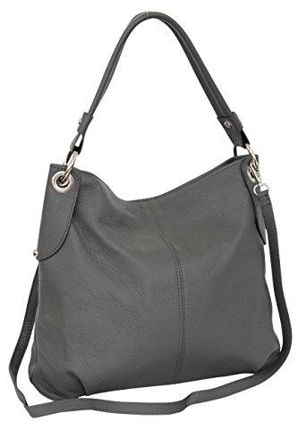 Schultertasche Handtasche (AMBRA Moda Damen echt Ledertasche Handtasche Schultertasche Beutel Shopper Umhängtasche GL012 (Dunkelgrau))