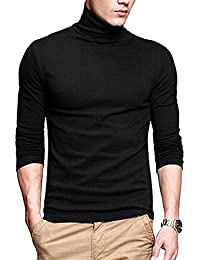 PAUSE Men's High Neck Full Sleeve Neck Black Cotton T-Shirt