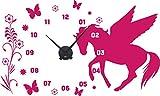 GRAZDesign 800306_BK_041 Wandtattoo Uhr mit Uhrwerk Wanduhr Kinderzimmer Mädchen Pferd Blumen (95x57cm//041 pink//Uhrwerk schwarz)