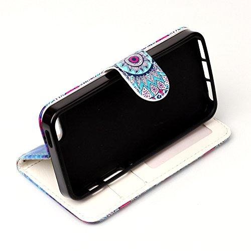 Coque iPhone SE, Etui iPhone 5S, ISAKEN Peinture Style Soulagement de la couleur PU Cuir Flip Magnétique Portefeuille Etui Housse de Protection Coque Étui Case Cover avec Stand Support et Carte de Cré Fleur colorée