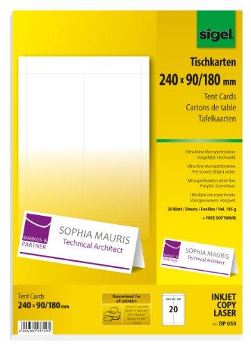 Sigel DP050 bedruckbare Tischkarten weiß, 24 x 9 cm (auf A4), 20 Stück - weitere Größen