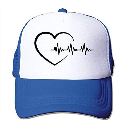 Heartbeat Mesh Trucker Caps/Hats Einstellbar für Unisex Black Royalblue Leer Mesh Trucker Hats