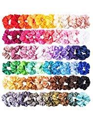 WATINC 60 Stücke Bunte Silk Satin Scrunchie Set Starke Elastische Bobble Haarbänder für Pferdeschwanz Halter Einfarbig Traceless Haarseil (Chiffon Samt Kostüm)