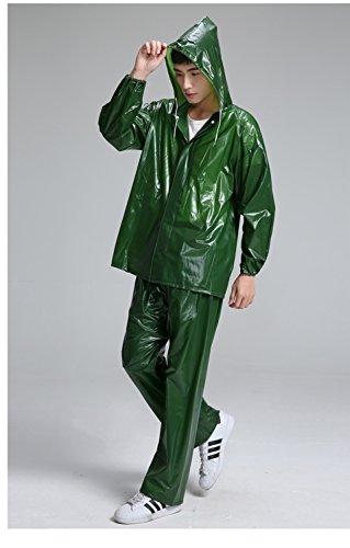 Raincoat PVC Meer Rubber Tendon Tuch Split Regen Pants Set im Freien zu Fuß Fahrt Poncho Regen-Bekleidung Wasserdichte Jacke (Farbe : Grün) Pvc-poncho