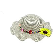 Leisial Gran Sombrero Redondo de Ala Ancha Sol Sombrero de Playa para Niñas Sombrero de Flores de Abalorios Color Sólido Estilo Lindo Verano