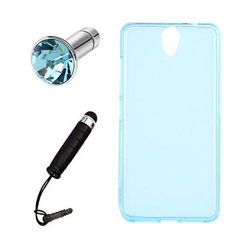Lusee® Silikon TPU Hülle für Lenovo Vibe S1 lite 5.0 Schutzhülle Case Cover Protektiv Silicone Backcover + Gratis Touchpen Eingabestift sowie Staubschutz halb transparent blau