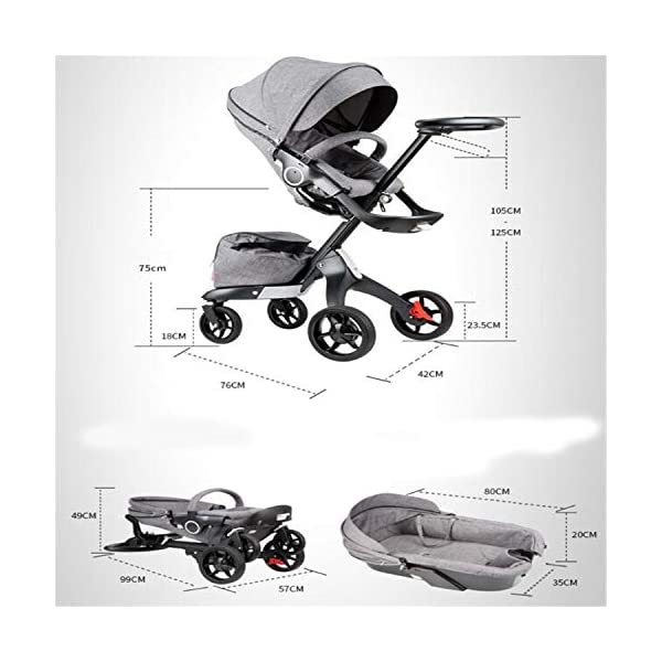 BABIFIS Baby Stroller High Landscape Can Sit Reclining Foldable Reversible Baby Four-wheeler Stroller E BABIFIS 75CM high landscape, two-way adjustment, SUV-level suspension, multi-turn adjustment, away from the car exhaust, breathing fresh air Height-adjustable, no need to change chairs, and easy to eat in parallel with most dining tables As a two-way adjustment, two orientations towards three seats, two-way implementation,Sleeping basket can be carried independently, 0-6 months baby's comfortable cot 9