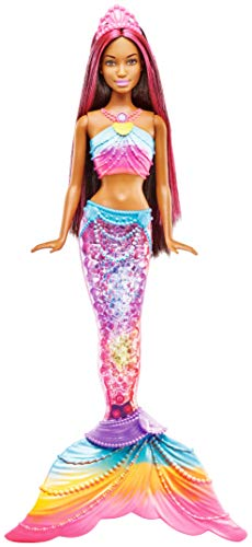 Barbie Mermaid Muñeca Dreamtopia Sirena Luces De Arcoiris Morena, (Mattel...