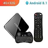 【Android 8.1  4GB + 32GB】 H96 MAX 4G + 32G Amlogic S905 X2 Quad Core Arm Cortex A53 Ultra HD Smart TV Box, Soporte 2.4G / 5.8G Dual WiFi /4k/USB3.0 / Teclado retroiluminado inalámbrico