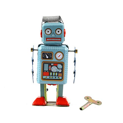 1 unid Vintage Mecánico Mecánico Wind Up Metal Walking Robot Juguete