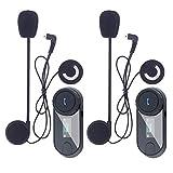 Asvert Motorrad Helm Bluetooth Headsets Wireless Intercom Kopfhörer mit Mikrofon für Motorrad Roller Skihelm Kommunikation, LCD-Bildschirm/FM Radio/Range-800M (TCOM-SC, Dual)