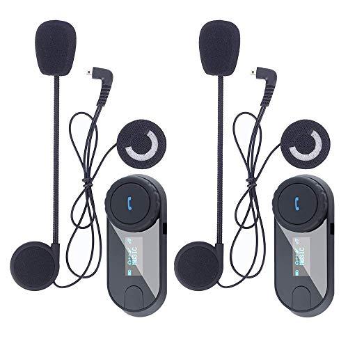 Asvert Motorrad Helm Bluetooth Headsets Wireless Intercom Kopfhörer mit Mikrofon für Motorrad Roller Skihelm Kommunikation, LCD-Bildschirm/FM Radio/Range-800M (TCOM-SC, Dual) Stereo-intercom-panel