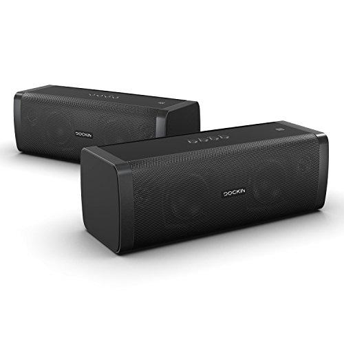 DOCKIN D Fine+ 50 Watt Stereo Hi-Fi Bluetooth Speaker - Lautsprecher 2er Set für Stereo Link Funktion mit Exzellentem Sound, starkem Akku für 14 Stunden Musikwiedergabe & PowerBank (9000mAh), aptX, Staub- und Wassergeschützt