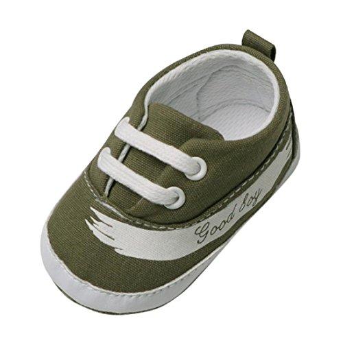 SOMESUN Kinder Baby Jungen Mädchen Krippe Schuhe Kleinkind Fashion Briefe Baumwolle Stoff Weiche Sohle Leder Rutschfest Single Beiläufig Freizeit Segeltuch Turnschuhe (6-12 Monate, Grün) (Nike-krippe Schuhe)