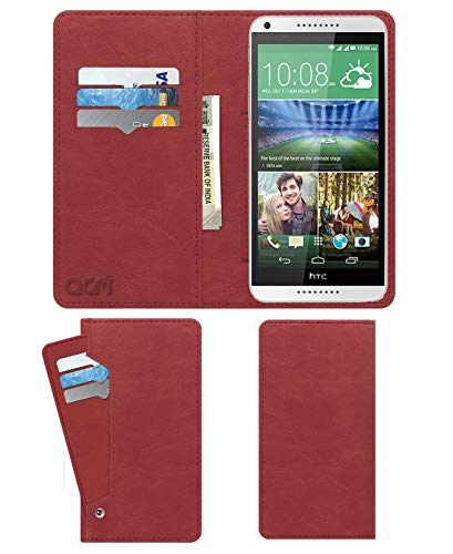 Acm Wallet Leather Flip Carry Case for HTC Desire 816g Mobile Flap Card Holder Front & Back Cover Peach Pink