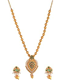 Ganapathy Gems Traditional Temple Design Green Gold Plated Pendant Necklace Set For Women & Girls (10595) 10595