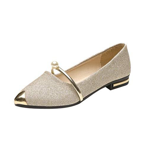 Goosuny Damen Spitze Geschlossene Ballerinas Women Perle Decor Metall Pointed Toe Ladise Shoes Casual Low Heel Flache Schuhe Neue Elegante Stylische Keilabsatz Freizeitschuhe(Gold,36) -