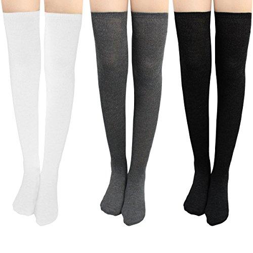 Damen Kniestrümpfe - Overknee Strümpfe Streifen Lange Socken Retro Knitting Strümpfe Mädchen...