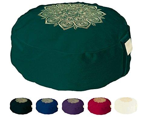 Om Vita Zafu Meditationskissen Yoga 100% Bio Buchweizen Füllen und Hand Gestaltete Mandala Applique (Green Stitched) - 100 Applique