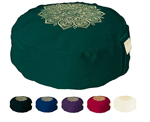 Om Vita Cuscino Zafu per meditazione imbottitura 100{c2a5c97c578c59735e44a16d8089b503a8f1a5ce5f0b7191050f1016928519cf} grano saraceno e applique con mandala cucita a mano … (Green Stitched)