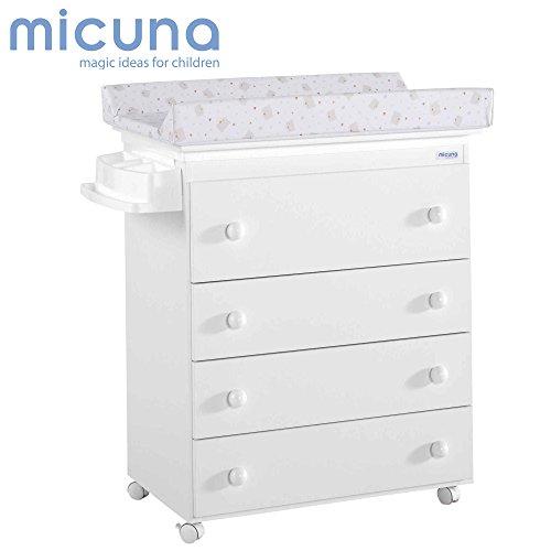 Micuna B-947 - Bañera con tapizado osos corazones, color blanco y beige
