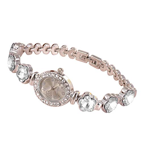 Lazzgirl Frauen-runde volle Diamant-Armband-Uhr-analoge Quarz-Bewegungs-Armbanduhr(Blanc,One Size)